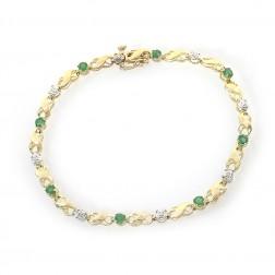 0.55 Carat Round Cut Emerald & Diamond Infinity Link Bracelet 14K Yellow Gold
