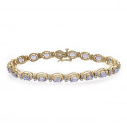 5.15 Carat Oval Cut Tanzanite & Round Cut Diamond Bracelet 14K Yellow Gold