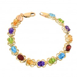 7.00 Carat Multicolor Gemstone Link Bracelet in 14K Yellow Gold