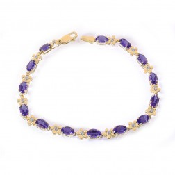 5.10 Carat Oval Cut Amethyst & Round Diamond Flower Link Bracelet 14K Yellow Gold