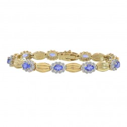 0.75 Carat Diamond and 4.50 Carat Tanzanite 14K Yellow Gold Fancy Link Bracelet