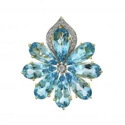 20.0 CTW Blue Topaz and 0.20 CTW Round Cut Diamond Flower Brooch 14K Yellow Gold