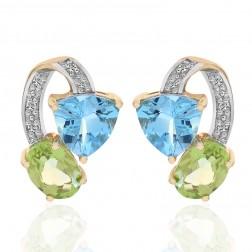 2.00 Carat Colored Gemstone & Diamond Stud Earrings 10K Yellow Gold
