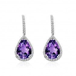 3.21 Carat Pear Shape Amethyst & Diamond Halo Dangle Earrings 14K White Gold