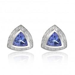 2.39 Carat Trillion Cut Tanzanite & Diamond Halo Earrings 14K White Gold