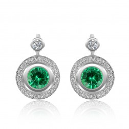 2.67 Carat Round Cut Emerald & Diamond Halo Earrings 14K White Gold