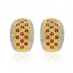 1.38 Carat Garnet & Diamond Huggy Earrings 14K Yellow Gold
