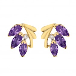 1.20 Carat Amethyst and Diamond Accent Vintage Earrings 14K Yellow Gold