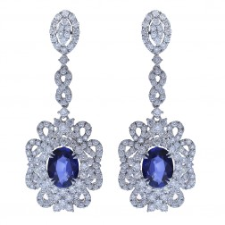 7.50 Carat Oval Cut Sapphire & Round Diamond Chandelier Earrings 18K White Gold