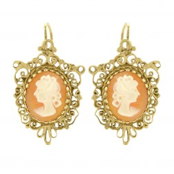 Shell Cameos Antique Style Earrings 14K Yellow Gold