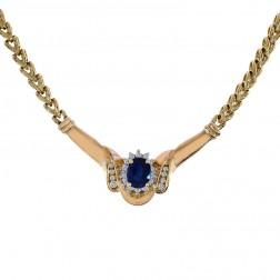 1.78 Carat Oval Cut Sapphire & Round Diamonds Necklace 14K Yellow Gold