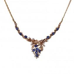 4.00 Carat Oval Cut Sapphire & Round Diamond Garland Necklace 14K Yellow Gold