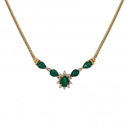 2.64 Carat Pear Shape Emerald & Round Diamond Garland Necklace 14K Yellow Gold