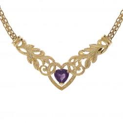 0.90 Carat Heart Cut Amethyst Necklace 14K Yellow Gold