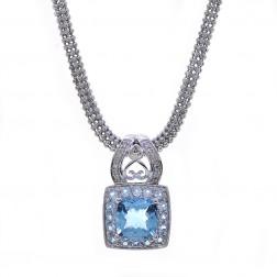 3.50 Carat Cushion Cut Topaz & 0.05 Carat Diamond Necklace 14K White Gold