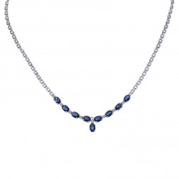 4.85 Carat Oval Cut Blue Sapphire & Round Diamond Necklace 14K White Gold