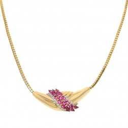 1.90 Carat Marquise Cut Ruby & Round Diamond Garland Necklace 14K Yellow Gold
