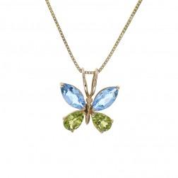 2.00 Carat Blue Topaz 1.00 Carat Peridot Butterfly Vintage Pendant 14K Yellow Gold