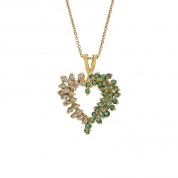 0.40 Carat Emerald & 0.30 Carat Diamond Heart Pendant Necklace 14K Yellow Gold