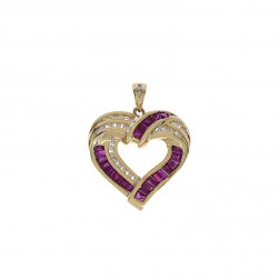 0.25 Carat Diamond with 1.50 Carat Ruby Vintage Heart Pendant 14K Yellow Gold