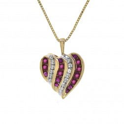 0.50 Carat Rubies & 0.20 Carat Diamond Heart Pendant Necklace 10K Yellow Gold