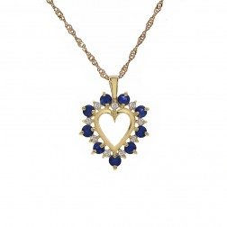 "0.65 Ct Sapphire & 0.15 Ct Diamond Heart Pendant With 16"" Chain 14K Yellow Gold"