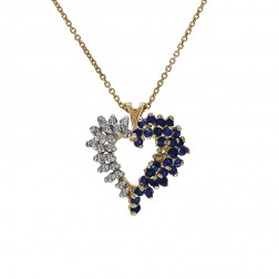 0.35 Carat Sapphire & 0.20 Carat Diamond Heart Pendant Necklace 14K Yellow Gold