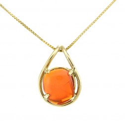 Mexican Fire Opal Vintage Pendant Necklace on a Box Chain 14K Yellow Gold