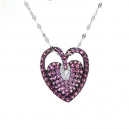 1.50 Carat Created Ruby & Round Diamonds Heart Pendant on Flat Anchor Chain 14K White Gold