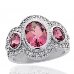 2.43 Carat 3 Stones Pink Tourmaline with 0.50 Carat Diamond Ring 18K White Gold