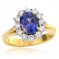 2.82 Carat Blue Tanzanite with Diamond Cocktail Ring 18K Two Tone Gold