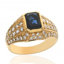 2.25 Carat Blue Sapphire with Diamond Ring 14K Yellow Gold