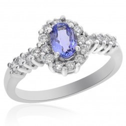 0.40 Carat Tanzanite with 0.50 Carat Diamond Ring 14K White Gold