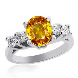 1.75 Carat Yellow Sapphire with 0.50 Carat Diamond Ring 14K White Gold