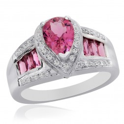 2.70 Carat Pink Tourmaline with 0.25 Carat Diamond Ring 14K White Gold