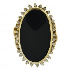 0.32 Carat Round Diamond & Black Onyx Vintage Ring 14K Yellow Gold