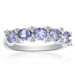 0.65 Carat Tanzanite with Diamond Cocktail Ring 10K White Gold
