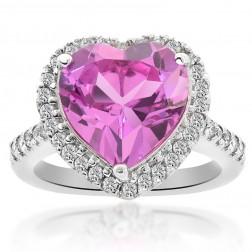 5.62 Carat Heart Shaped Quartz & Diamond Cocktail Ring 14K White Gold