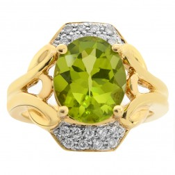 3.20 Carat Peridot & Diamond Cocktail Ring 14K Yellow Gold