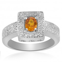 0.57 tcw Oval Yellow Sapphire and Round Brilliant Cut Diamond Cocktail Ring in 14K White Gold