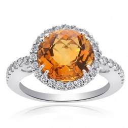3.64 Carat Gold Topaz with Round Cut Diamond Cocktail Ring 14K White Gold