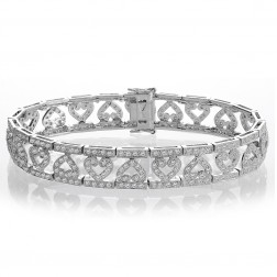 2.50 Carat Round Brilliant Cut Diamond Heart Bracelet 14K White Gold
