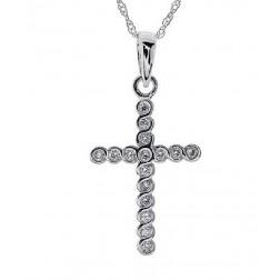 "0.15 Carat Diamond Ladies Cross Pendant 18"" Chain 14k White Gold"
