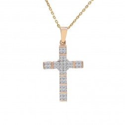 1.00 Carat Invisible Set Princess Cut Diamond Cross Pendant 14K Yellow Gold
