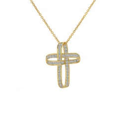 0.50 Carat Diamond Infinity Cross Pendant 14K Yellow Gold