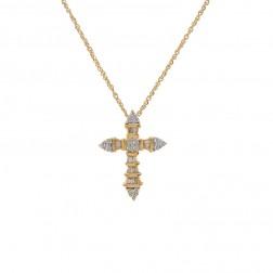 0.25 Carat Baguette & Round Cut Diamond Cross Pendant 14K Yellow Gold