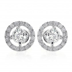 1.80 Carat Round Brilliant Cut Diamond Halo Stud Earrings 18K Gold
