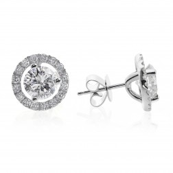 1.28 Carat Round Brilliant Cut Diamond Halo Stud Earrings 18K White Gold