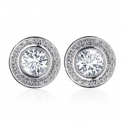 1.25 Carat Round Cut Diamond Bezel Set Halo Earrings 14K White Gold
