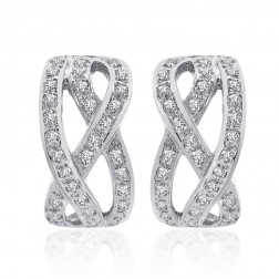 1.00 Carat Round Diamond Criss Cross Huggy Earrings 14K White Gold